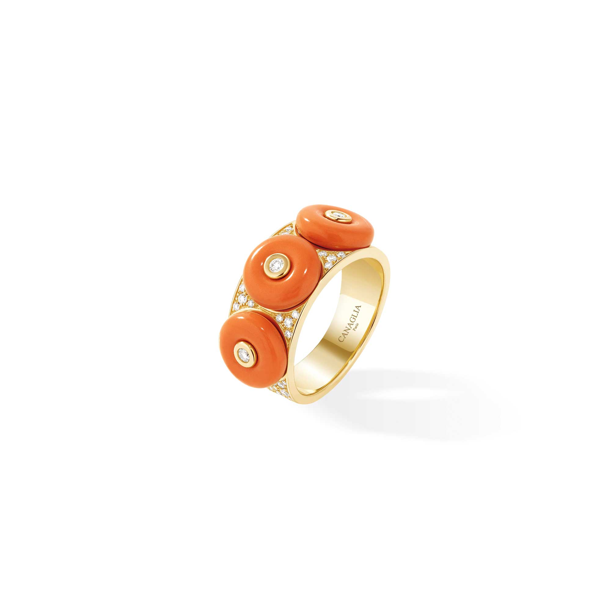 Yellow Gold Ring with Coral & Diamonds - Canaglia Paris-Milan Fine Jewelry