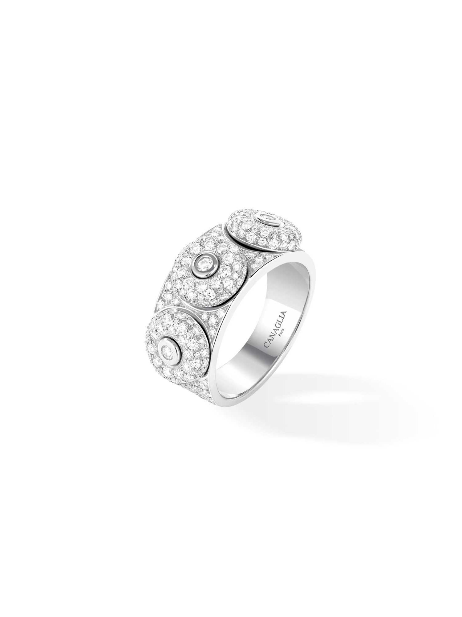 Bague jonc or gris, diamants, pavage diamants 3 bouées - Joaillerie Canaglia Paris-Milan