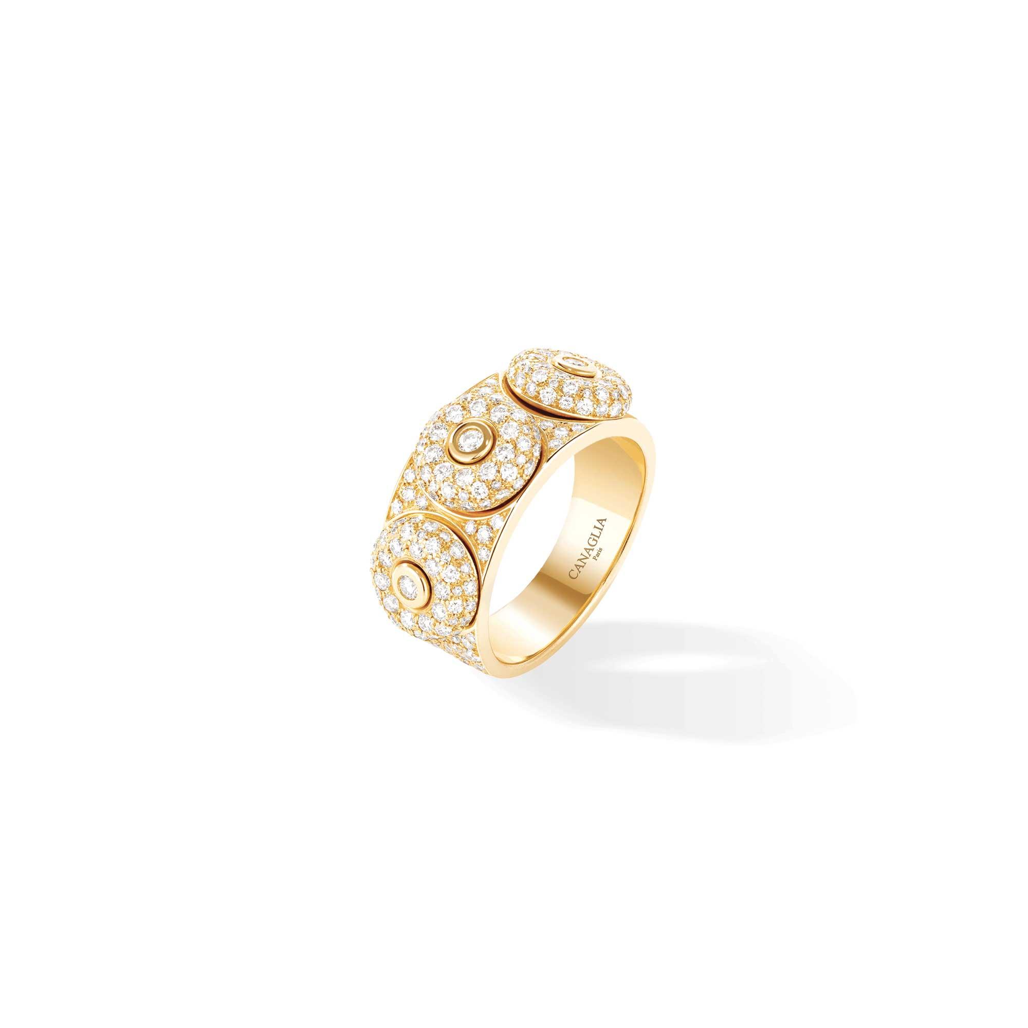 Bague jonc or jaune, diamants, pavage diamants 3 bouées - Joaillerie Canaglia Paris-Milan
