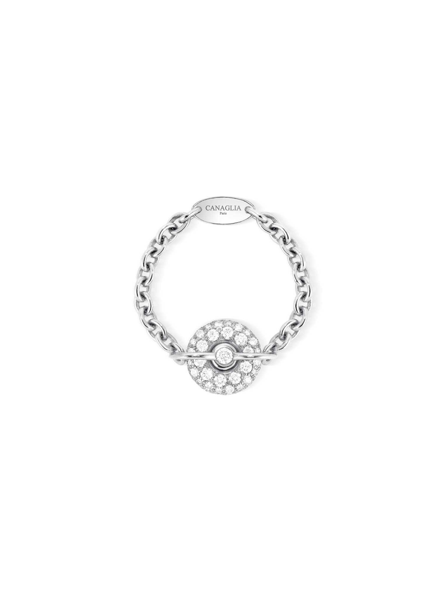 Bague chaine or gris et diamants - Joaillerie Canaglia Paris-Milan