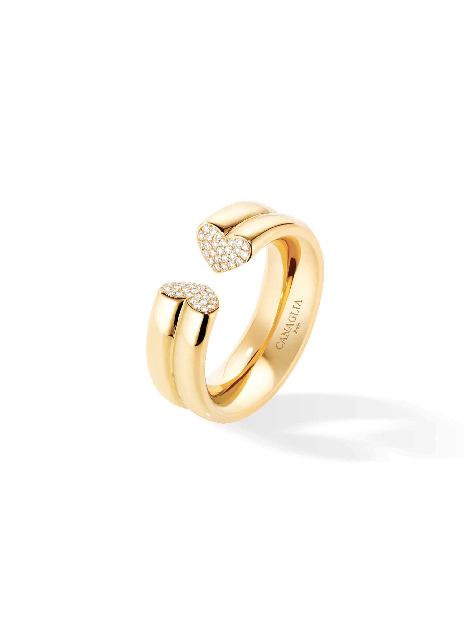 Bague grand coeur or jaune pavage diamants - Joaillerie Canaglia Paris-Milan