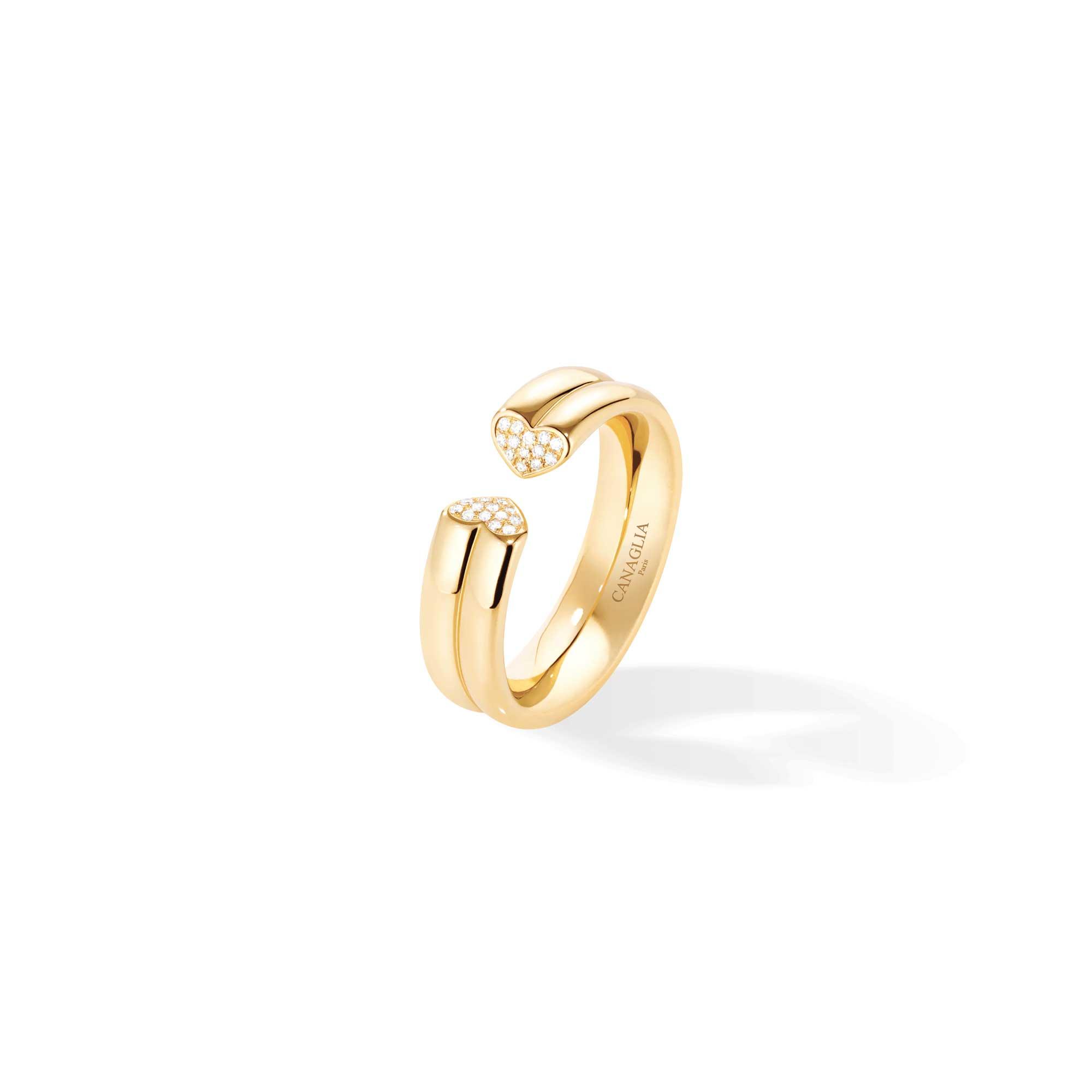 Anello coeur in oro giallo con pavé di diamanti - gioielleria Canaglia Paris-Milano