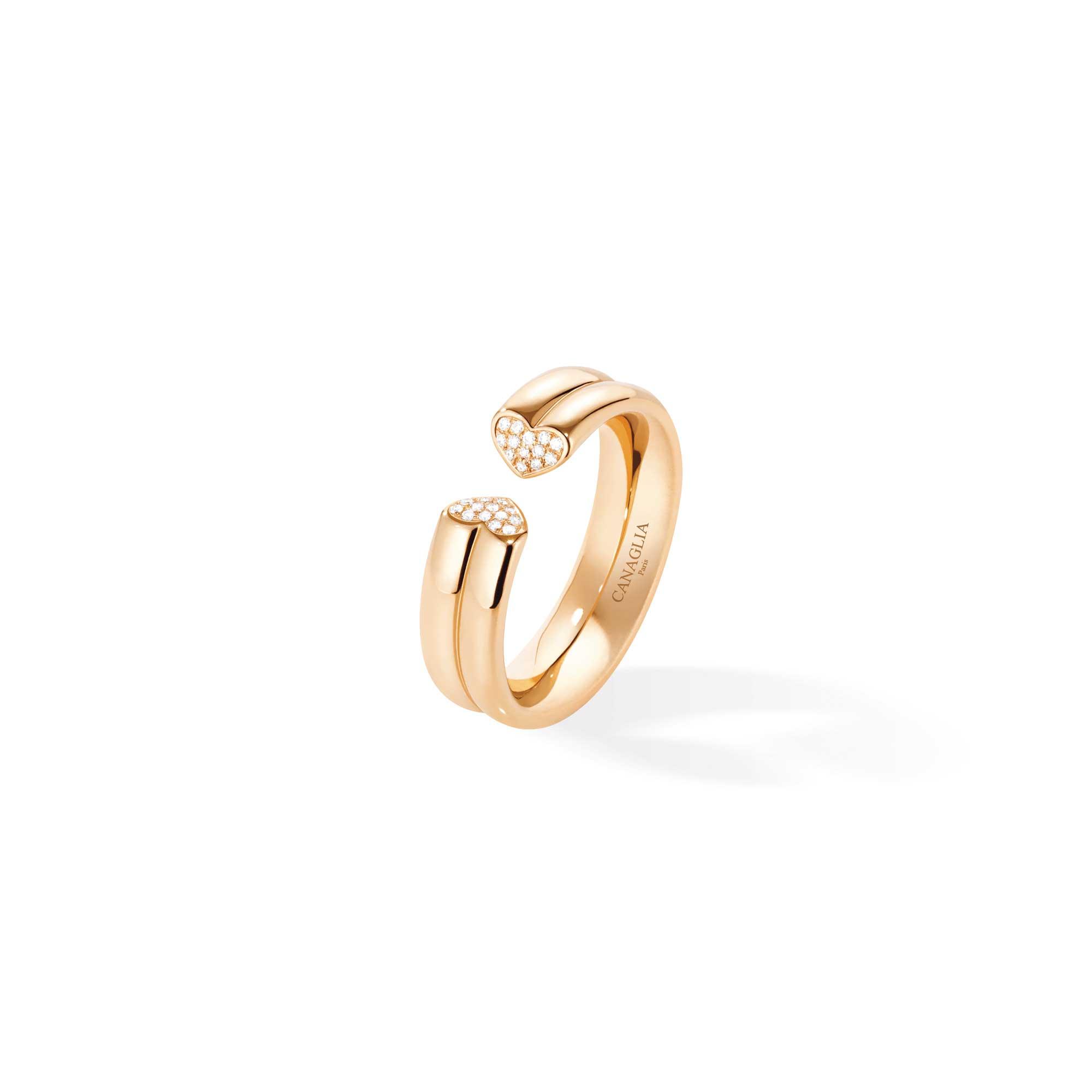 Anello coeur in oro rosa con pavé di diamanti - gioielleria Canaglia Paris-Milano