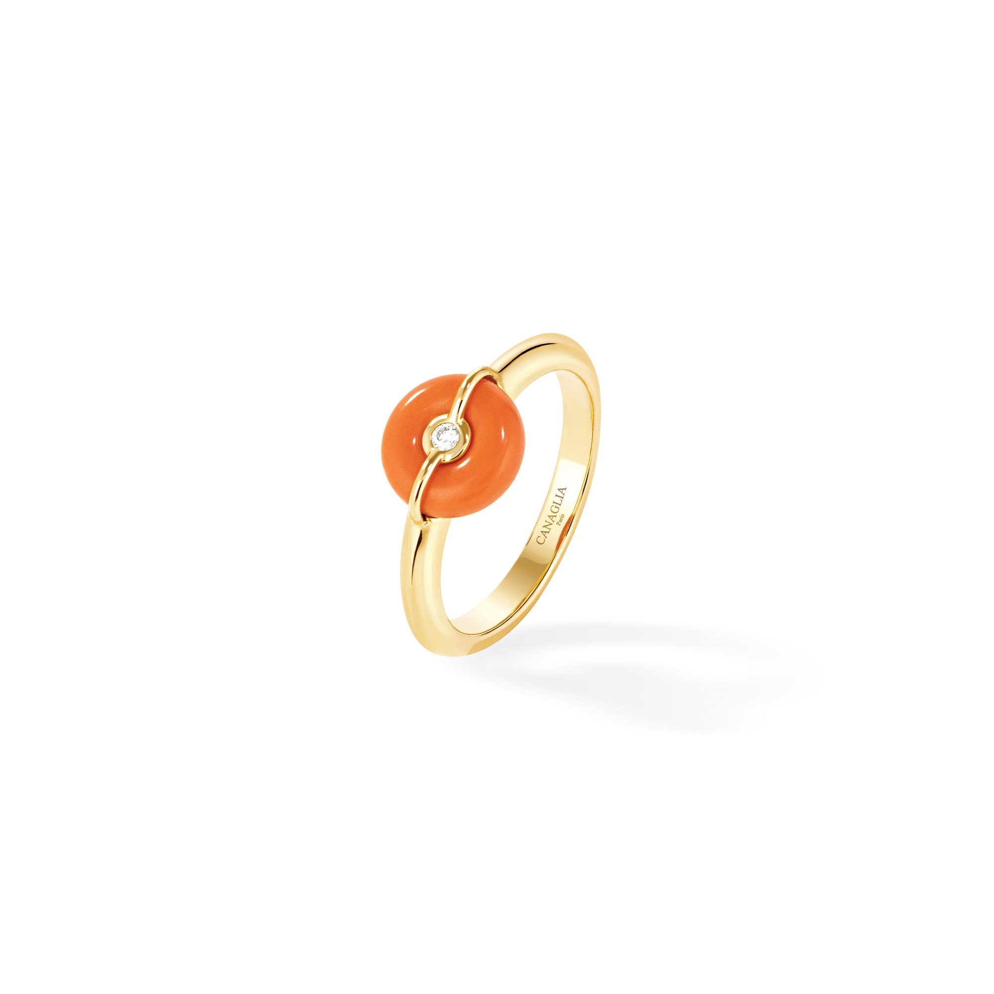 bague jonc or jaune 1 bouée corail et diamants - joaillerie canaglia paris-milan