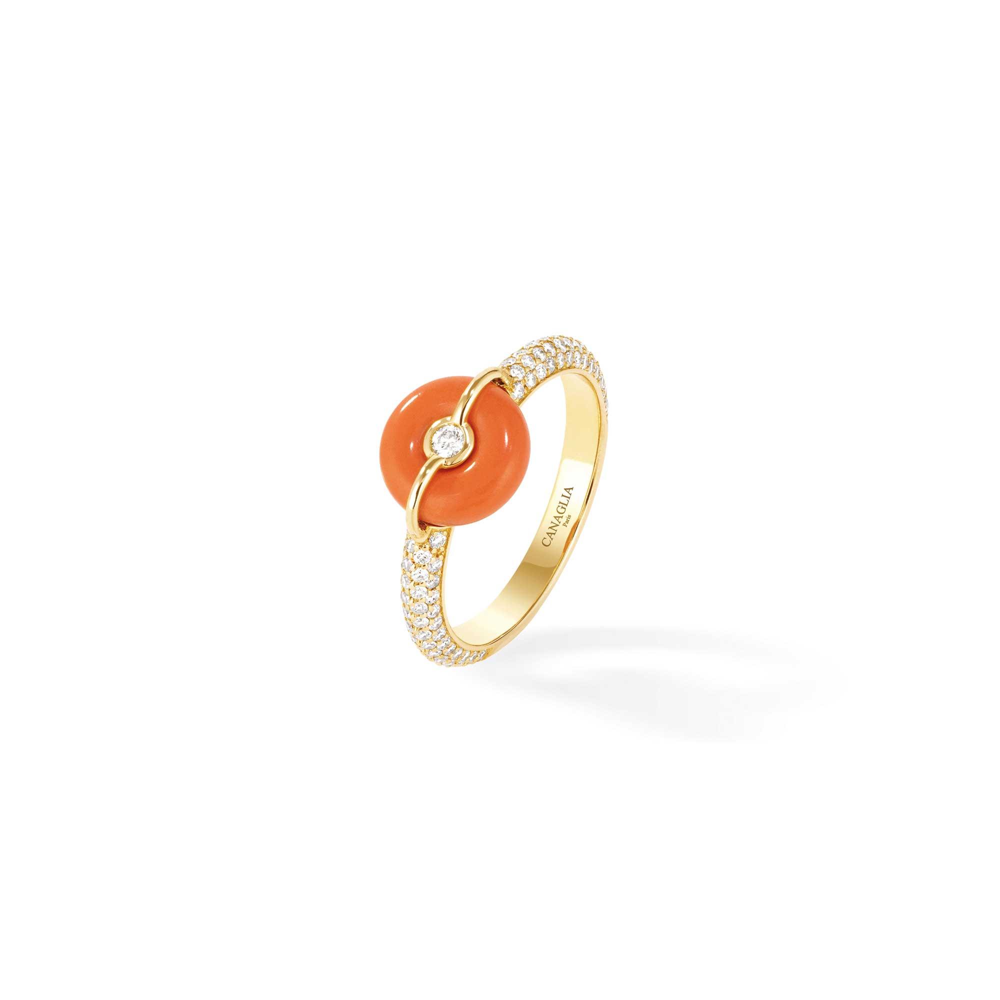 Bague jonc or jaune, corail, pavage diamants - Joaillerie Canaglia Paris-Milan