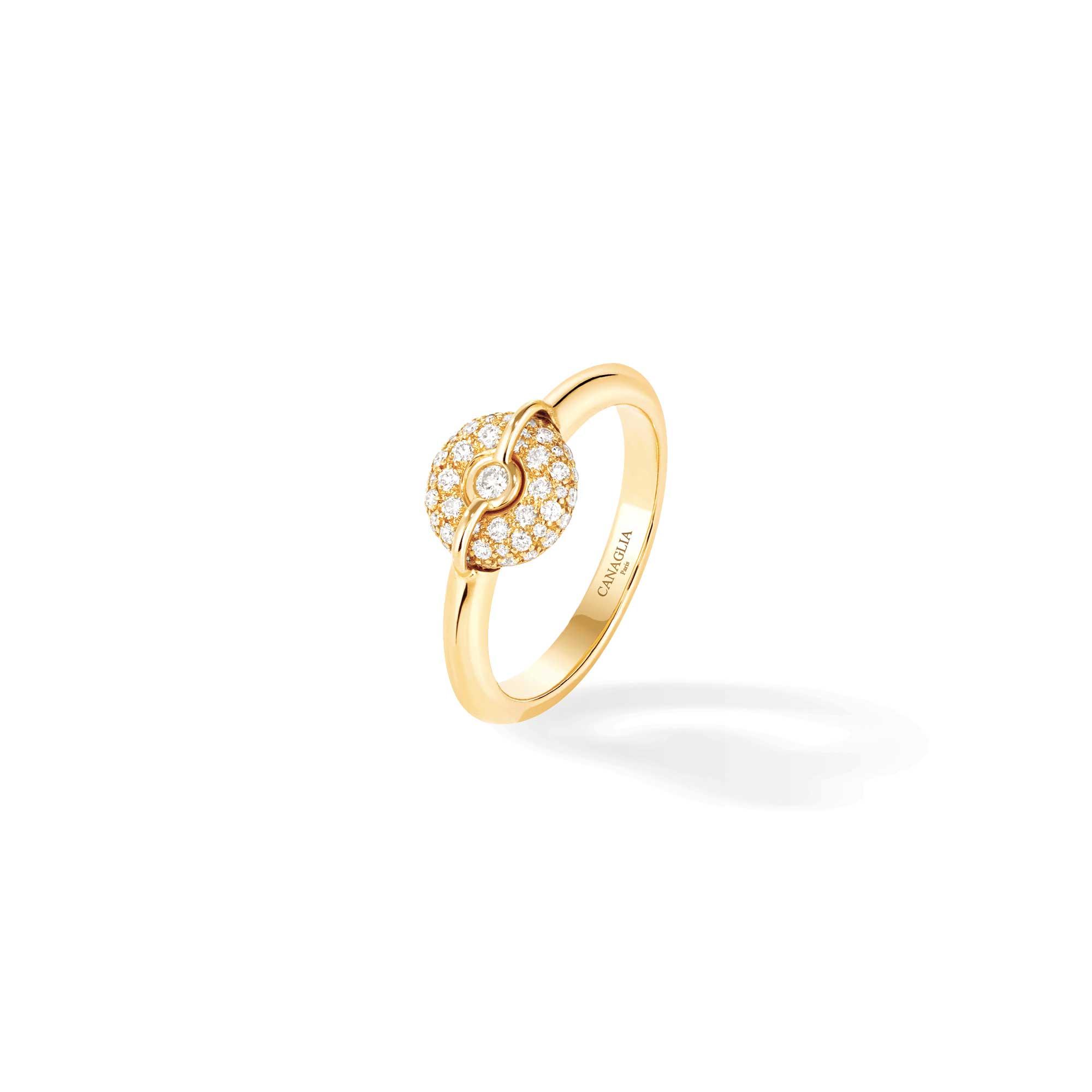 Bague jonc or jaune et diamants - Joaillerie Canaglia Paris-Milan