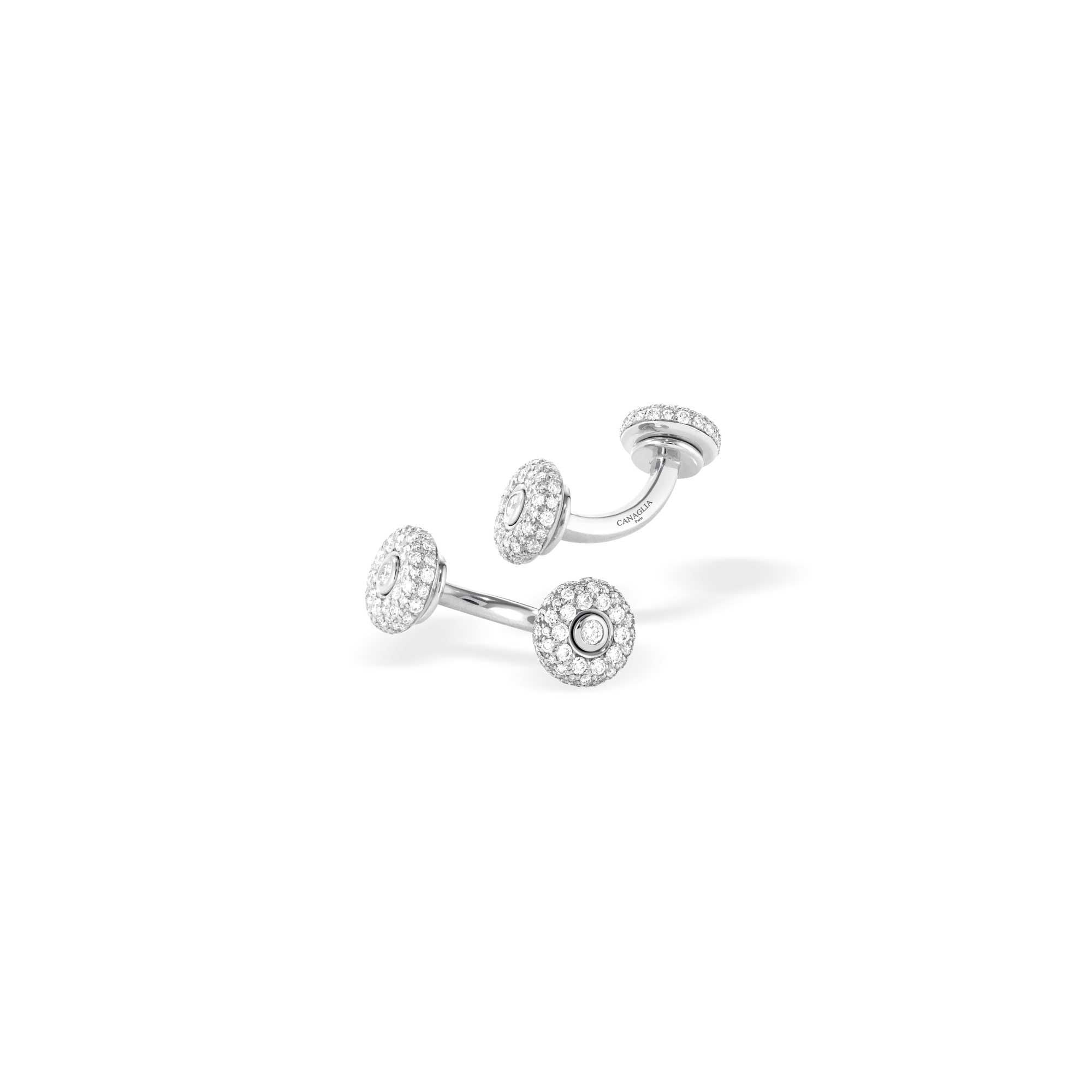 Boutons de manchette or gris et diamants - Joaillerie Canaglia Paris-Milan