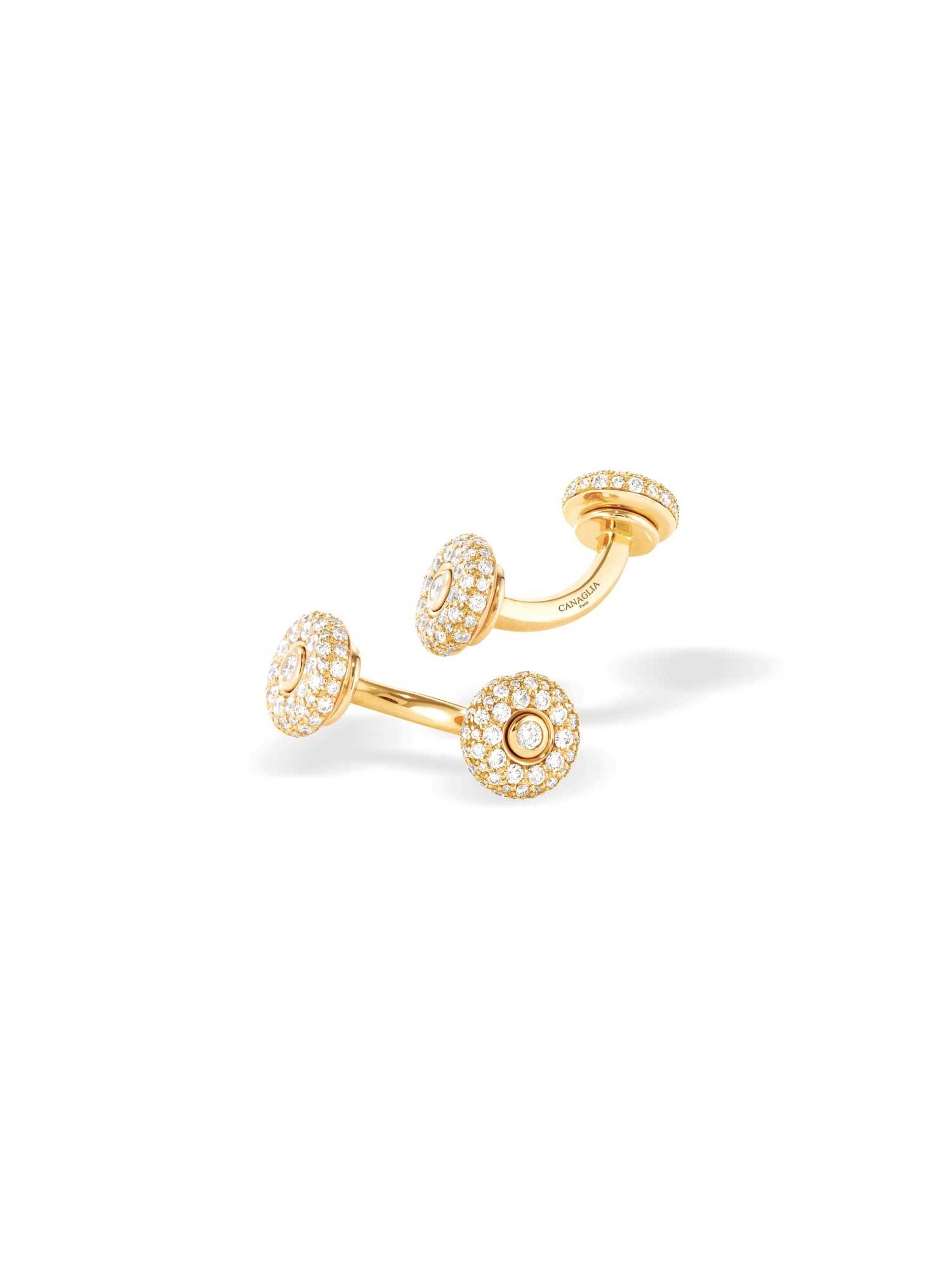 Boutons de manchette or jaune et diamants - Joaillerie Canaglia Paris-Milan