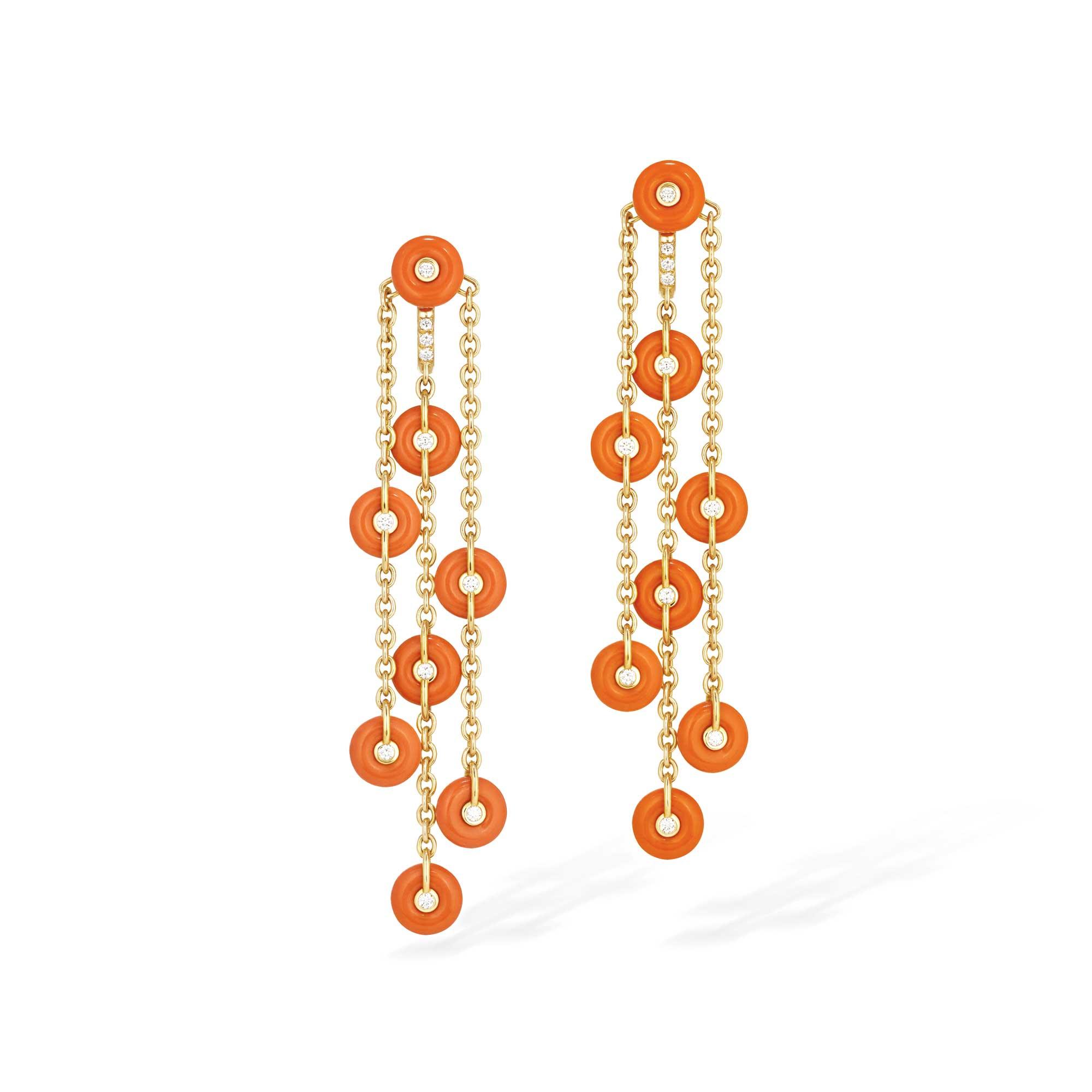 boucles d'oreilles pendantes or jaune, bouées corail et diamants - joaillerie canaglia Paris-Milan