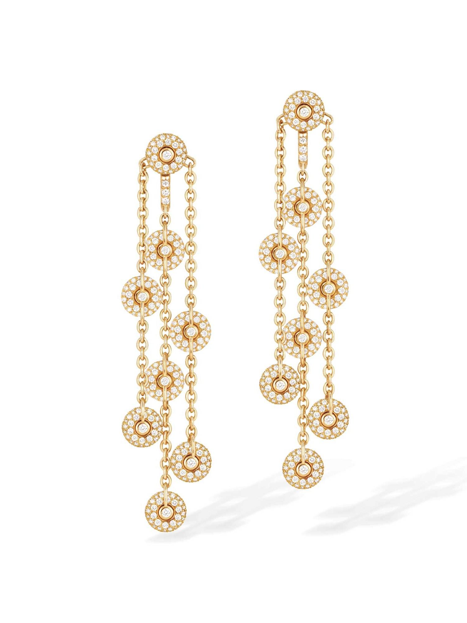 Boucles d'oreilles pendantes or jaune et diamants - joaillerie Canaglia Paris-Milan