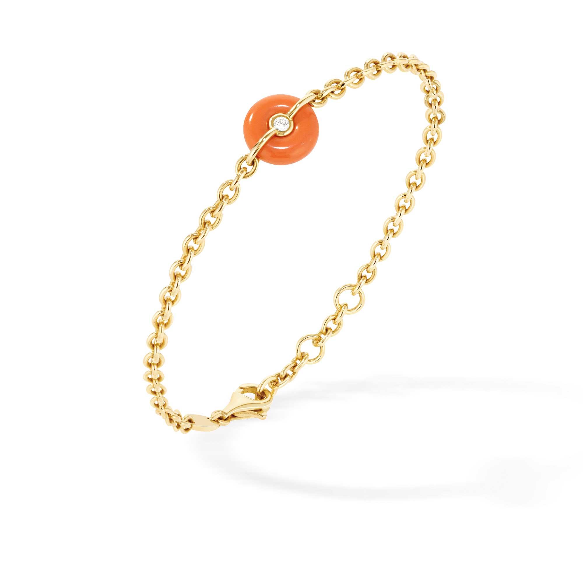 Bracciale a catenina in oro giallo, corallo e diamanti - gioielleria Canaglia Paris-Milano