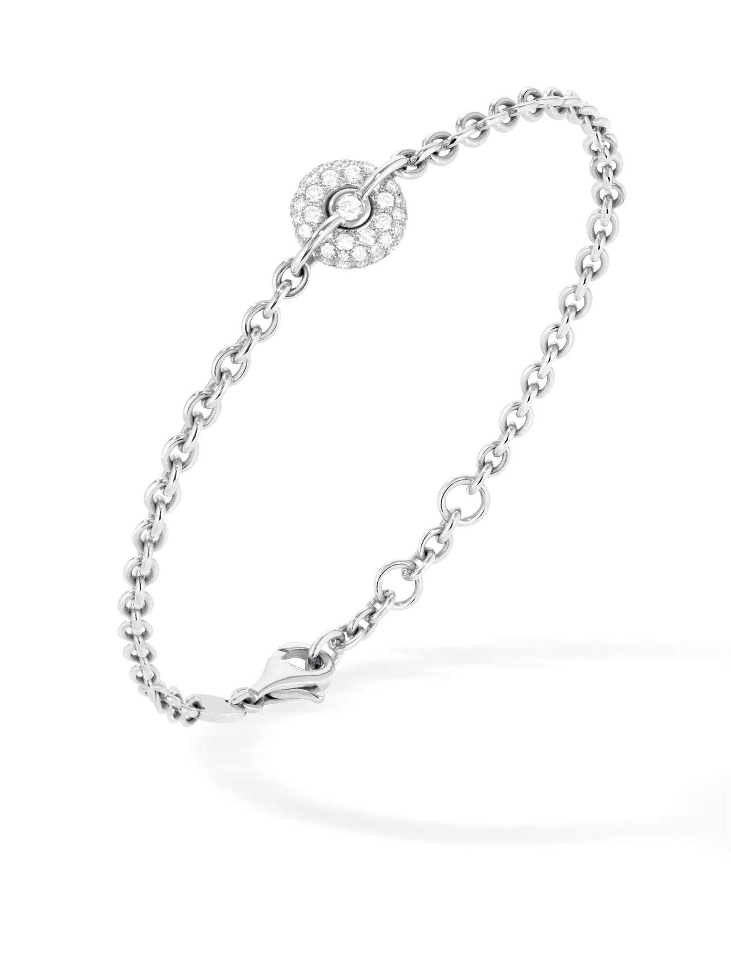 Bracelet chaine or gris et diamants 1 bouée - Joaillerie Canaglia Paris-Milan