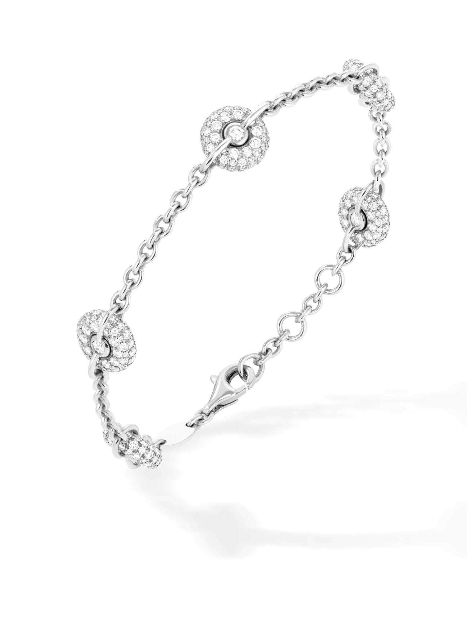 Bracelet chaîne or gris et diamants 5 bouées - Joaillerie Canaglia Paris-Milan
