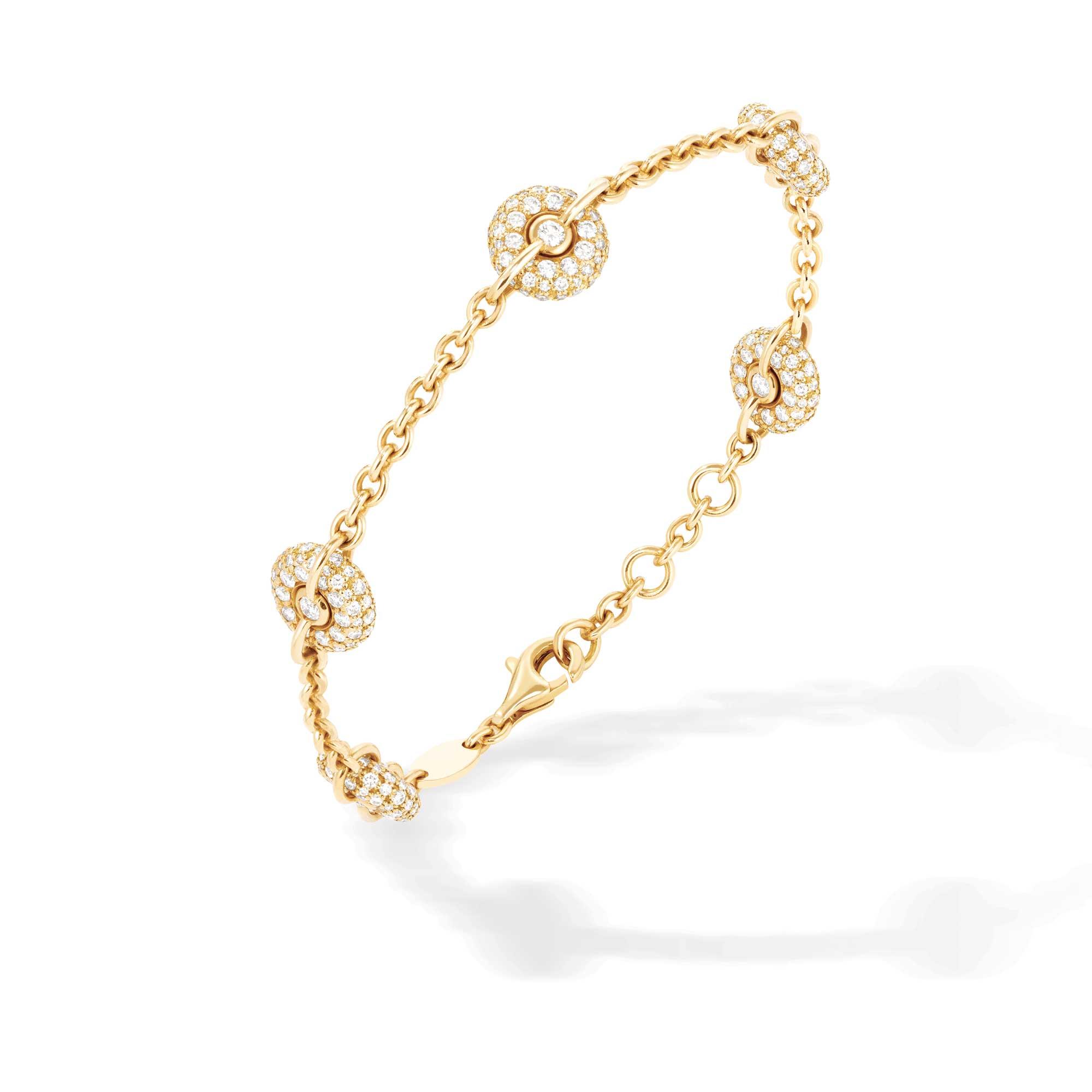 Bracciale a catenina in oro giallo e diamanti - gioielleria Canaglia Paris-Milano
