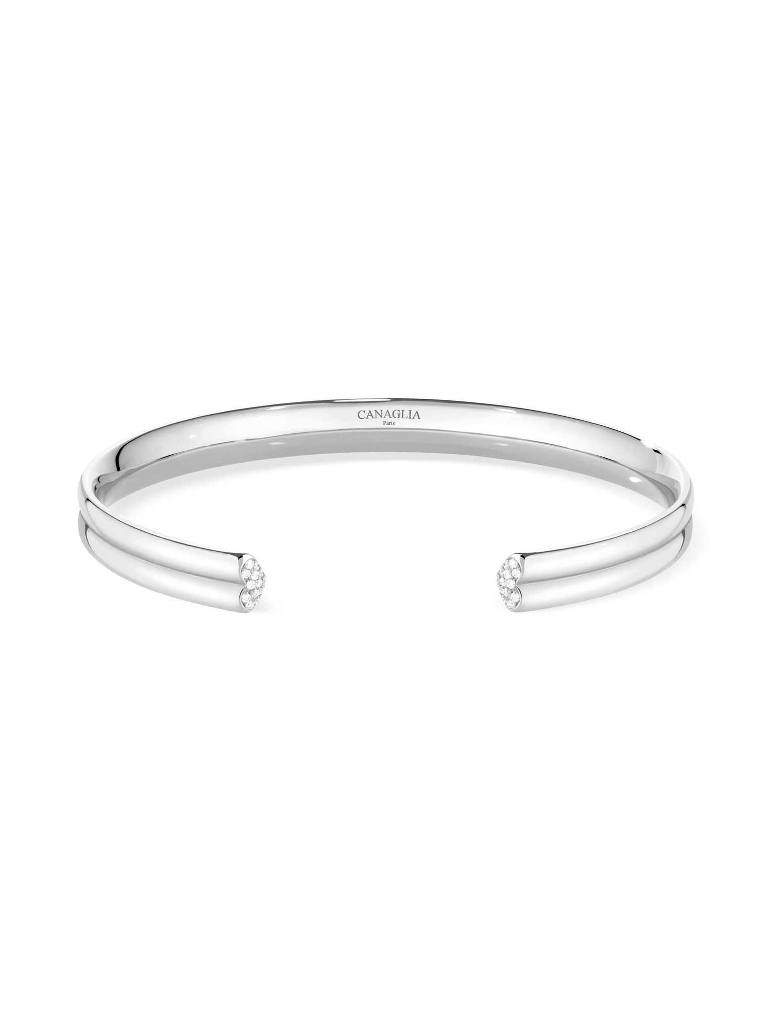 Bracelet coeur or gris pavage diamants - Joaillerie Canaglia Paris-Milan