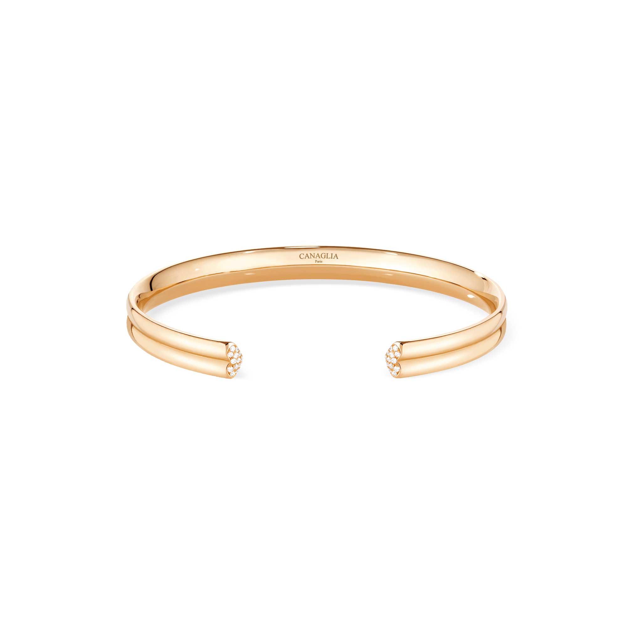 Bracciale coeur in oro rosa con pavé di diamanti - gioielleria Canaglia Paris-Milan