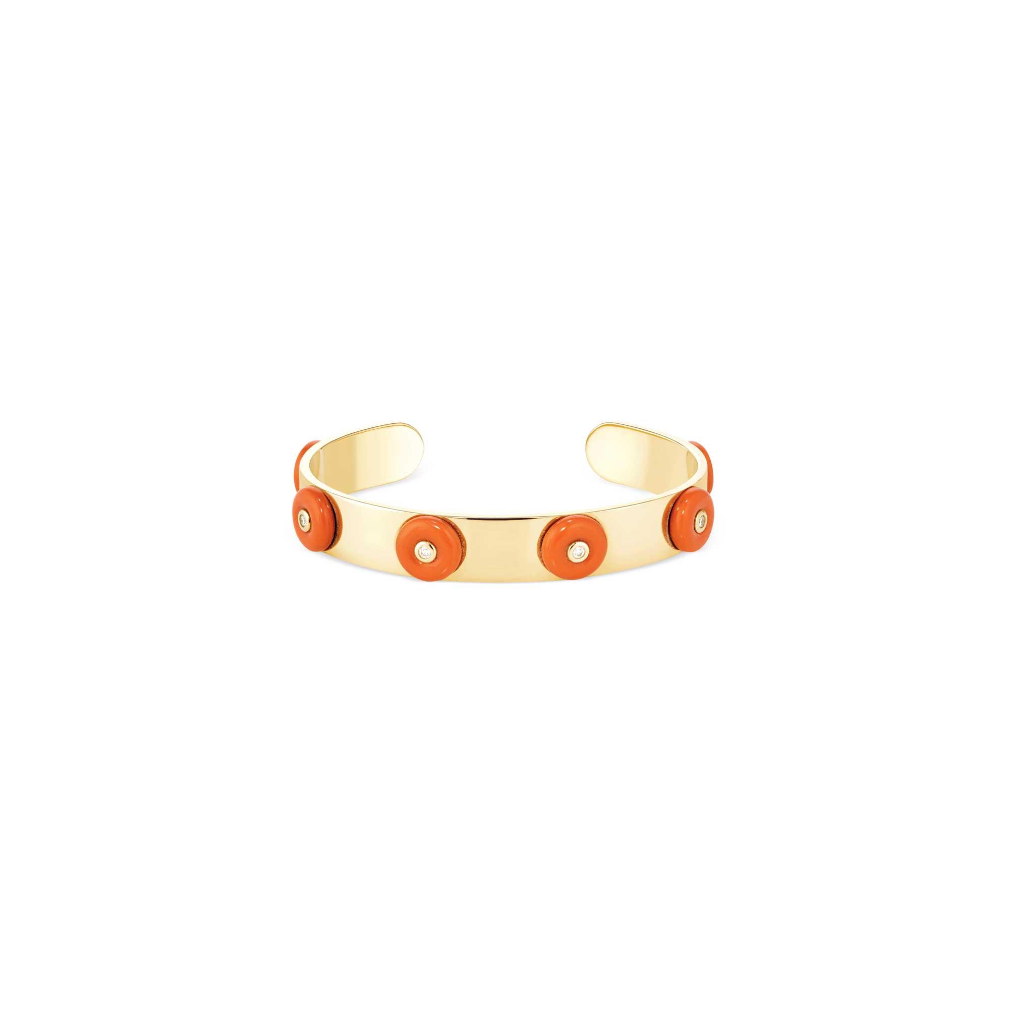Yellow gold bracelet with coral & diamonds 6 buoys - Canaglia Paris-milan fine jewelry