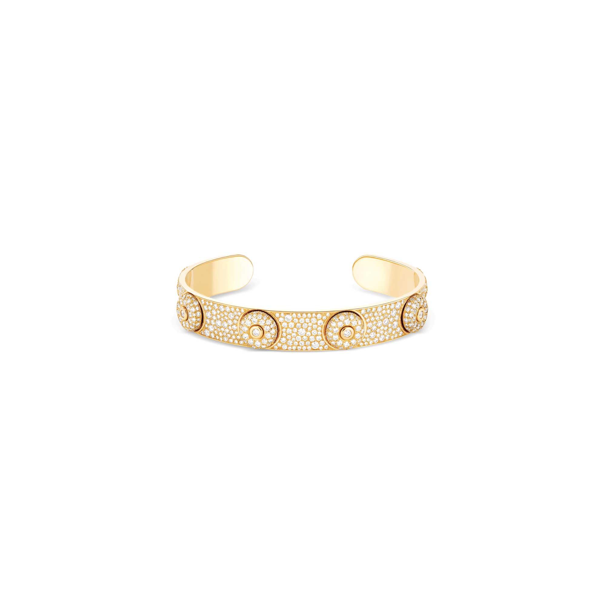Bracelet jonc or jaune pavage diamants - Joaillerie Canaglia Paris-Milan
