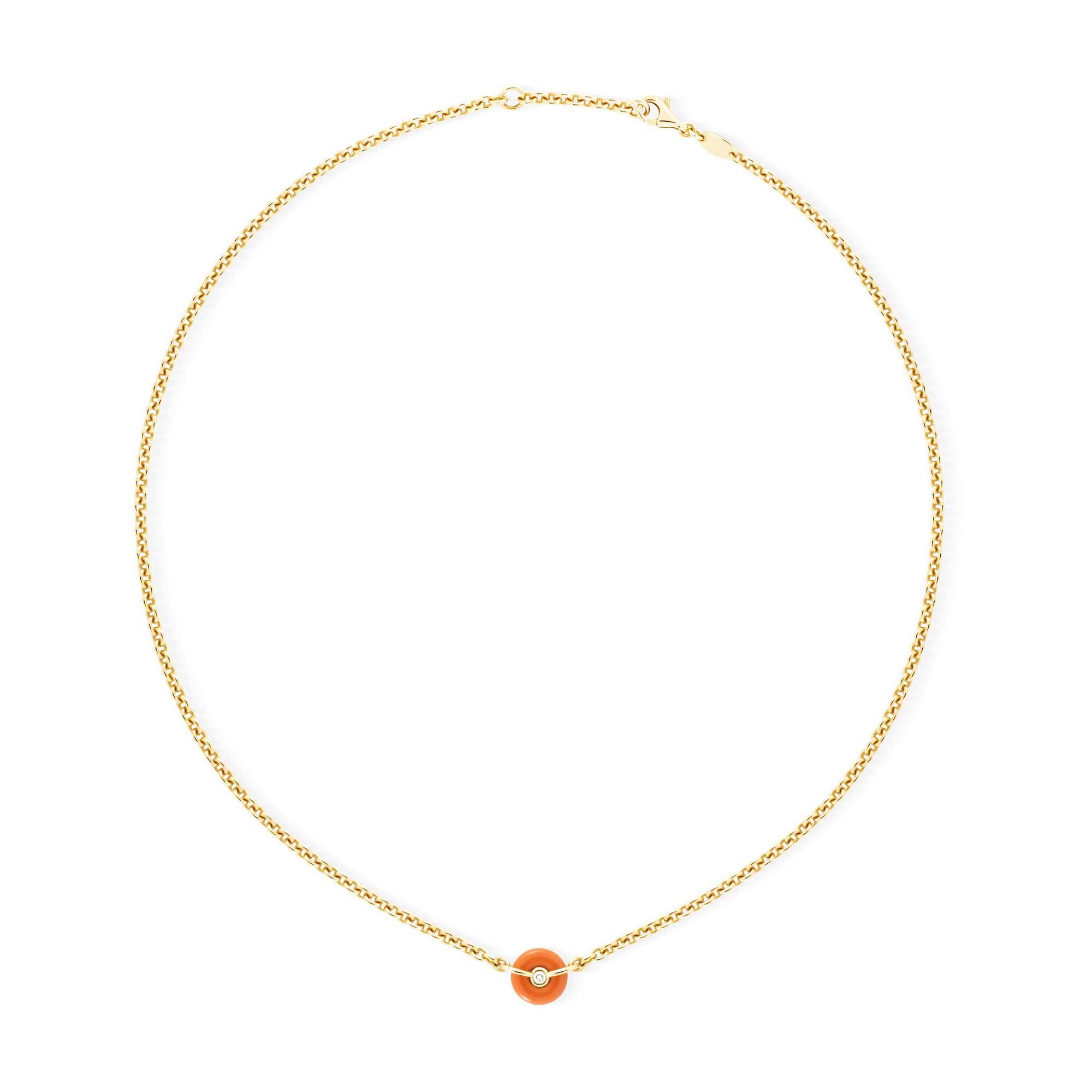Collier chaine corail, or jaune et diamants 1 bouée - Joaillerie Canaglia Paris-Milan