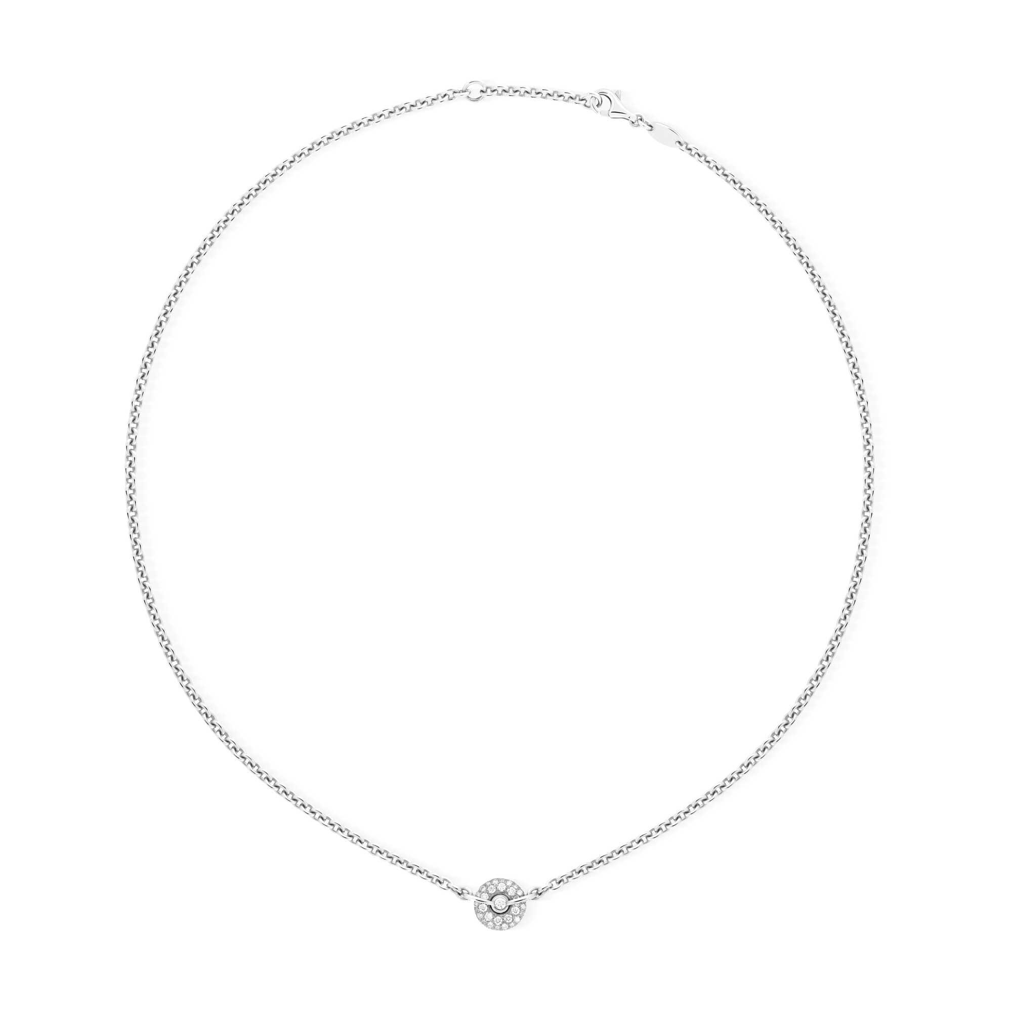 Collier chaine or gris et diamants - Joaillerie Canaglia Paris-Milan