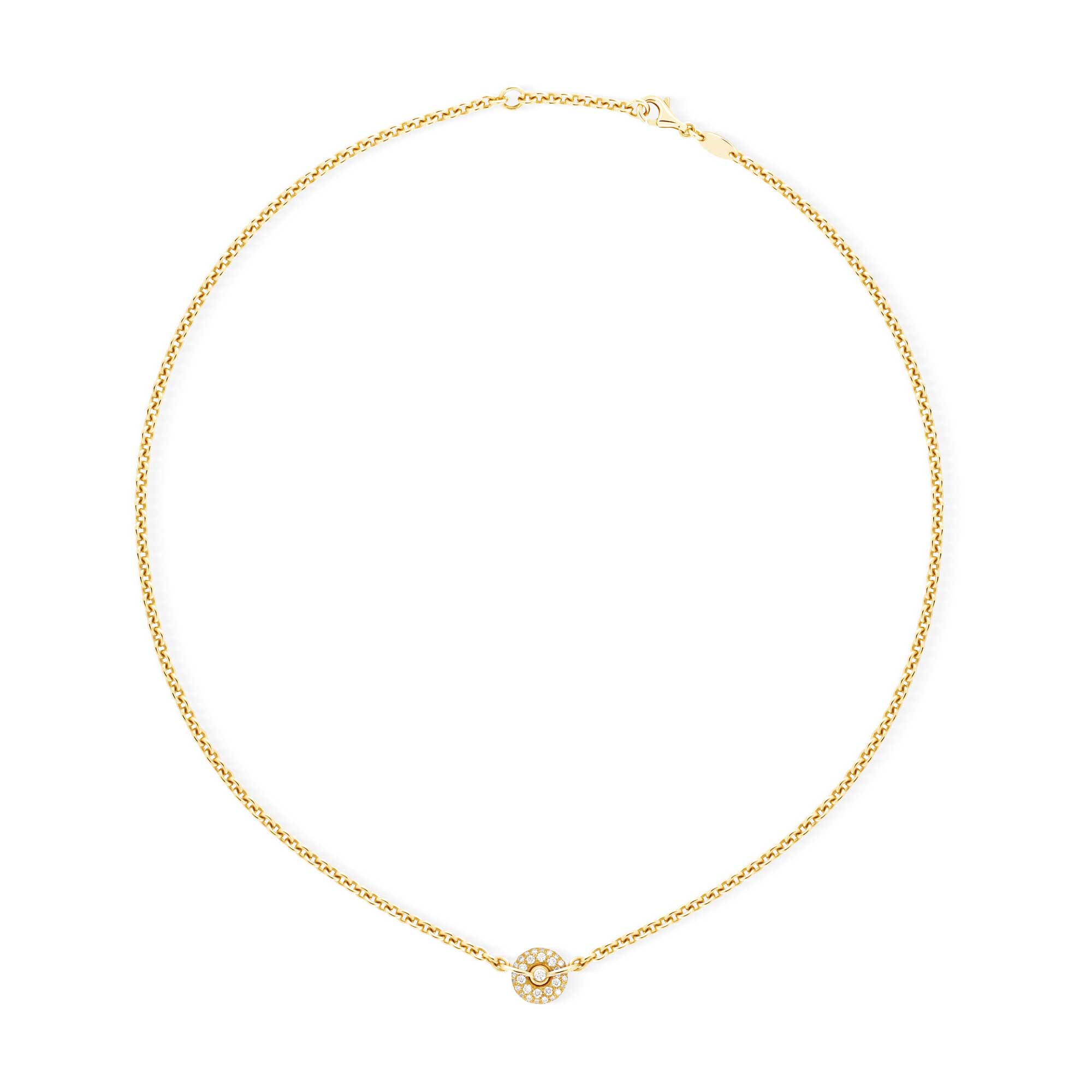 Yellow Gold Chain Necklace with Diamonds - Canaglia Paris-Milan Fine Jewelry