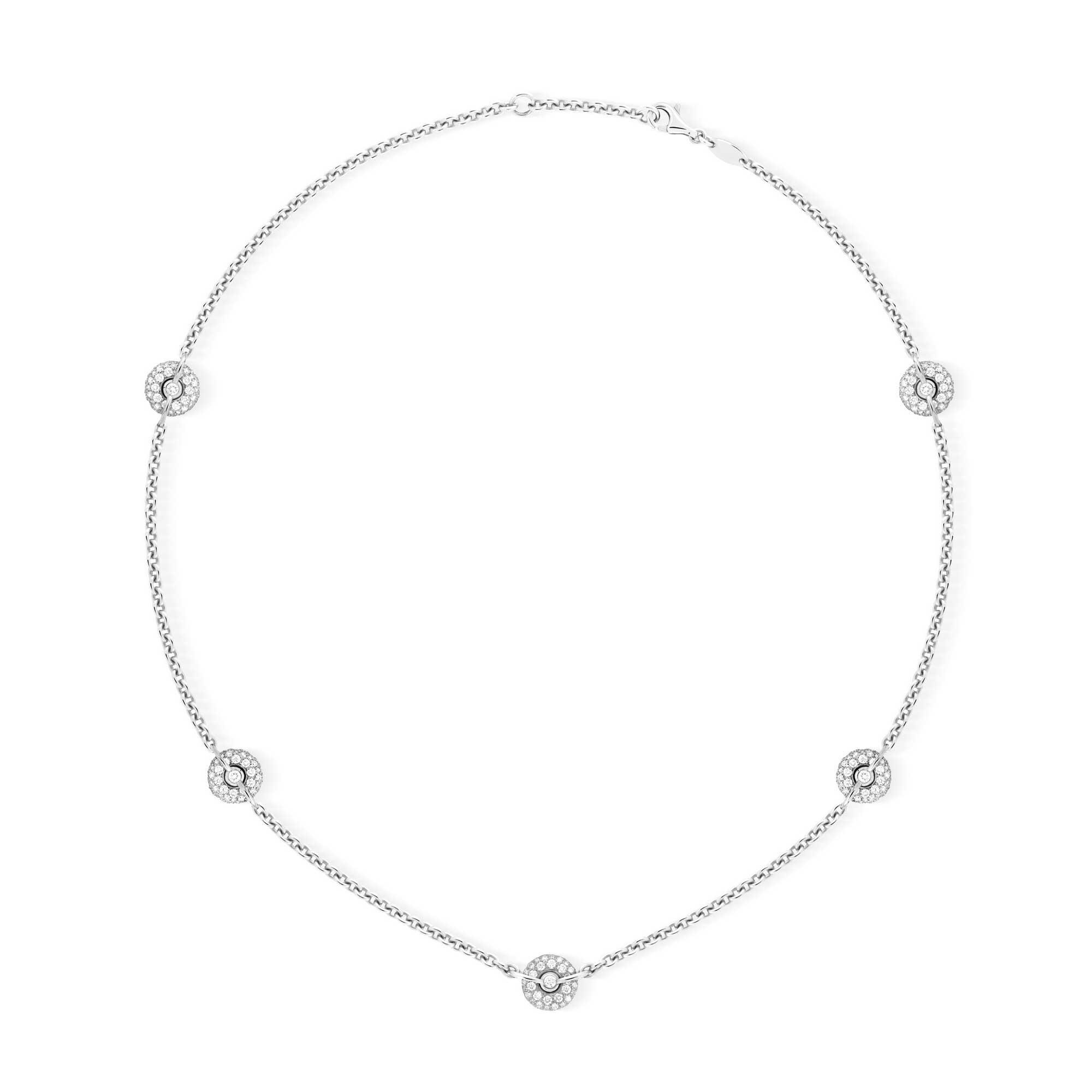 Collier chaine or gris pavage diamants 5 bouées - Joaillere Canaglia Paris-Milan