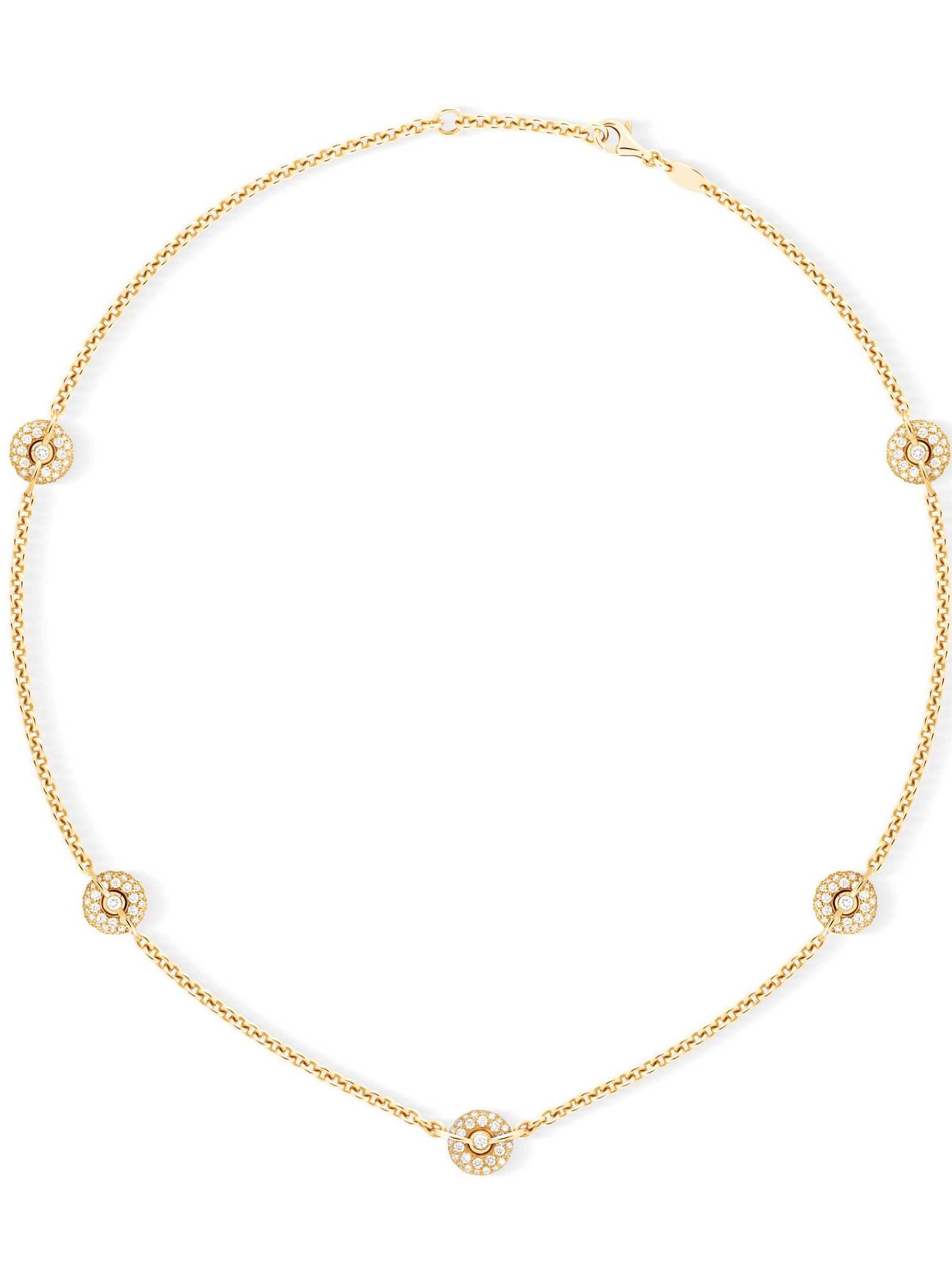 Collier chaine or jaune pavage diamants 5 bouées - Joaillerie Canaglia Paris-Milan