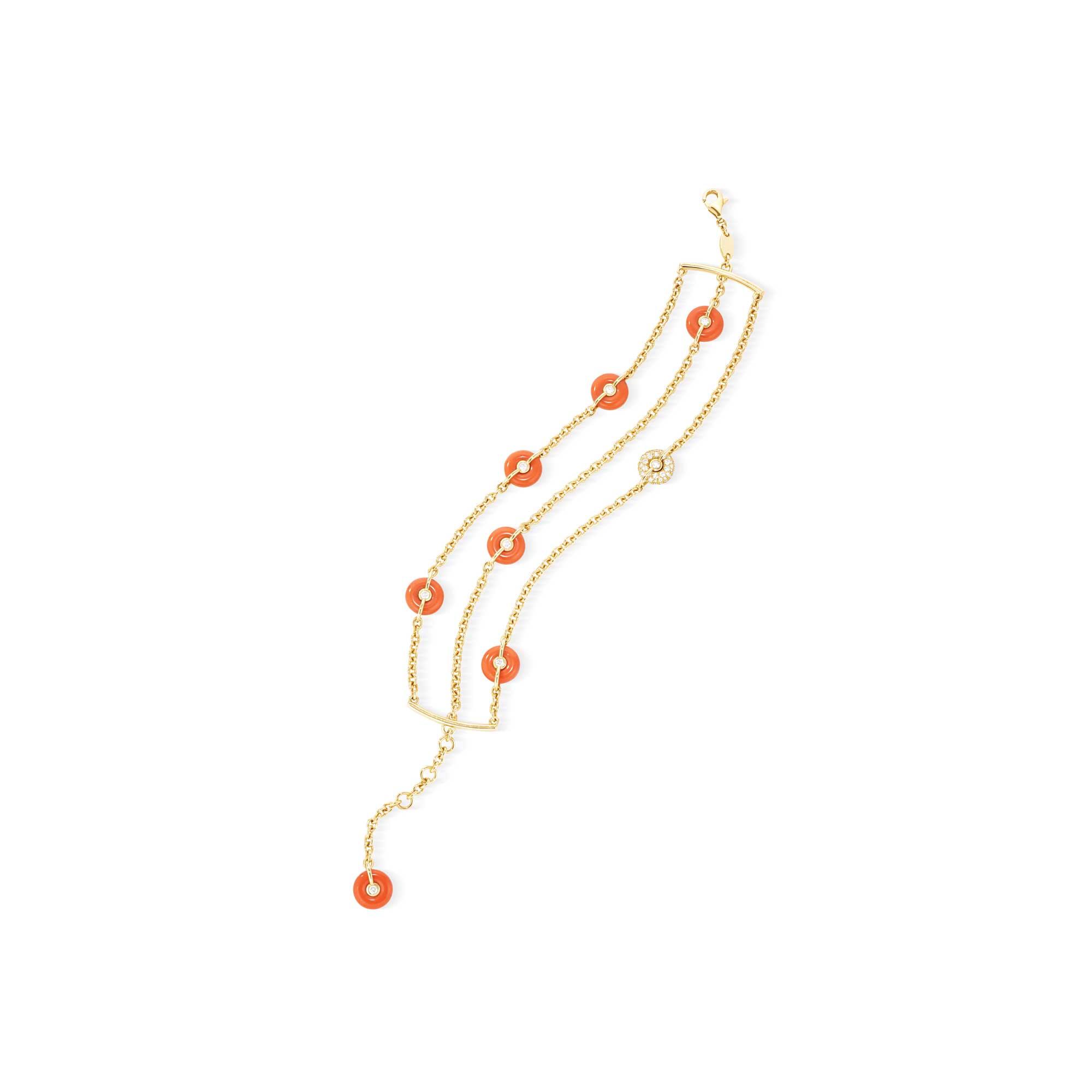 Yellow Gold Cuff Bracelet, with 7 coral buoys & 1 diamond buoy - Canaglia Paris-Milan Fine Jewelry