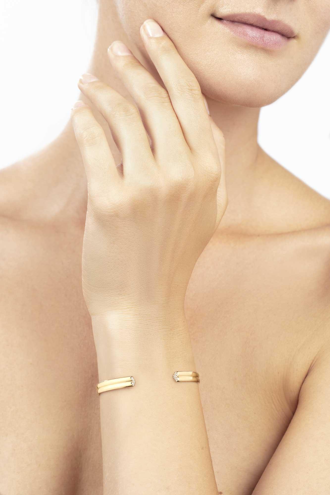 Yellow Gold Bracelet with Diamonds - Canaglia Paris-Milan Fine Jewelry