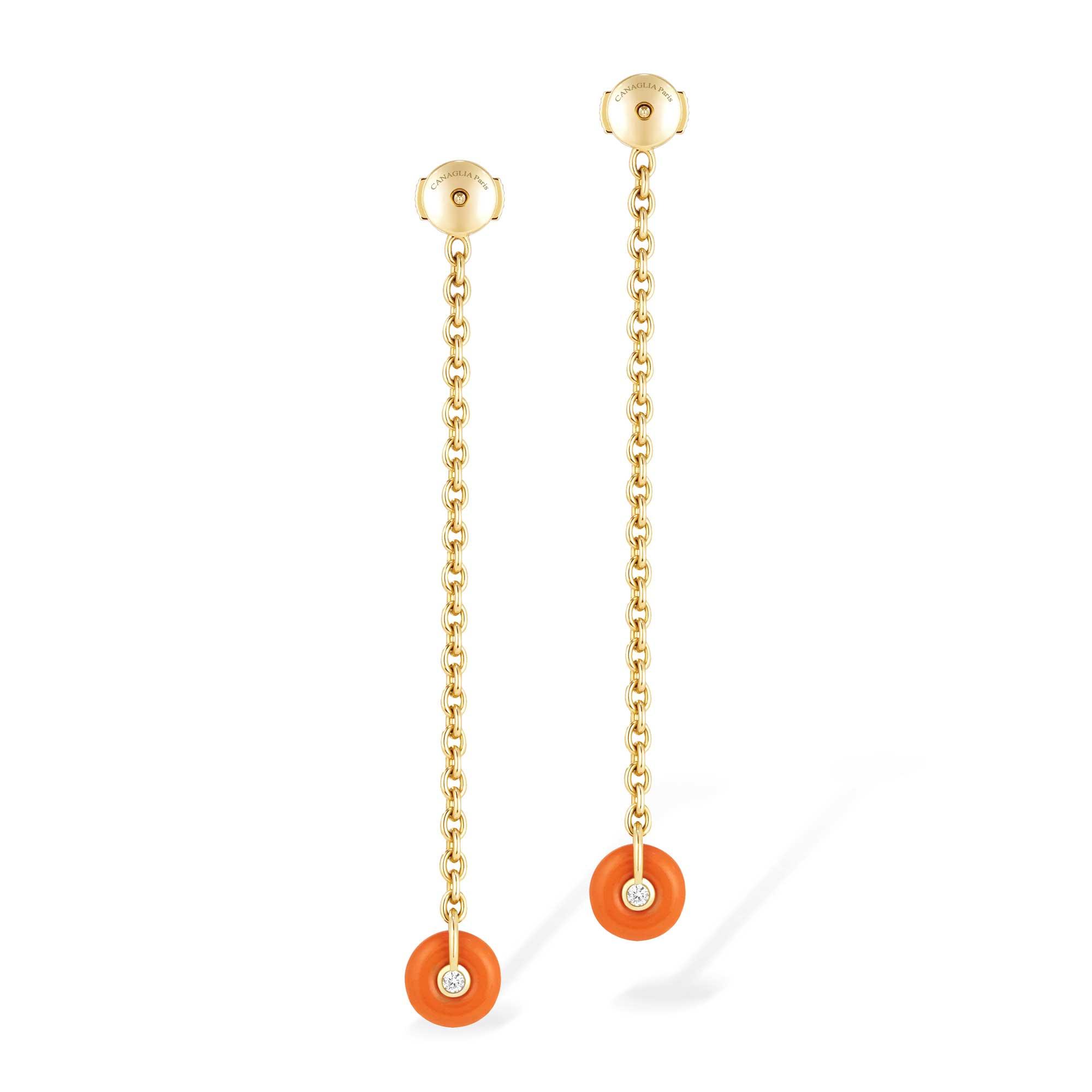 Fermoirs boucles d'oreilles pendantes or jaune, corail et diamants - joaillerie Canaglia Paris-Milan