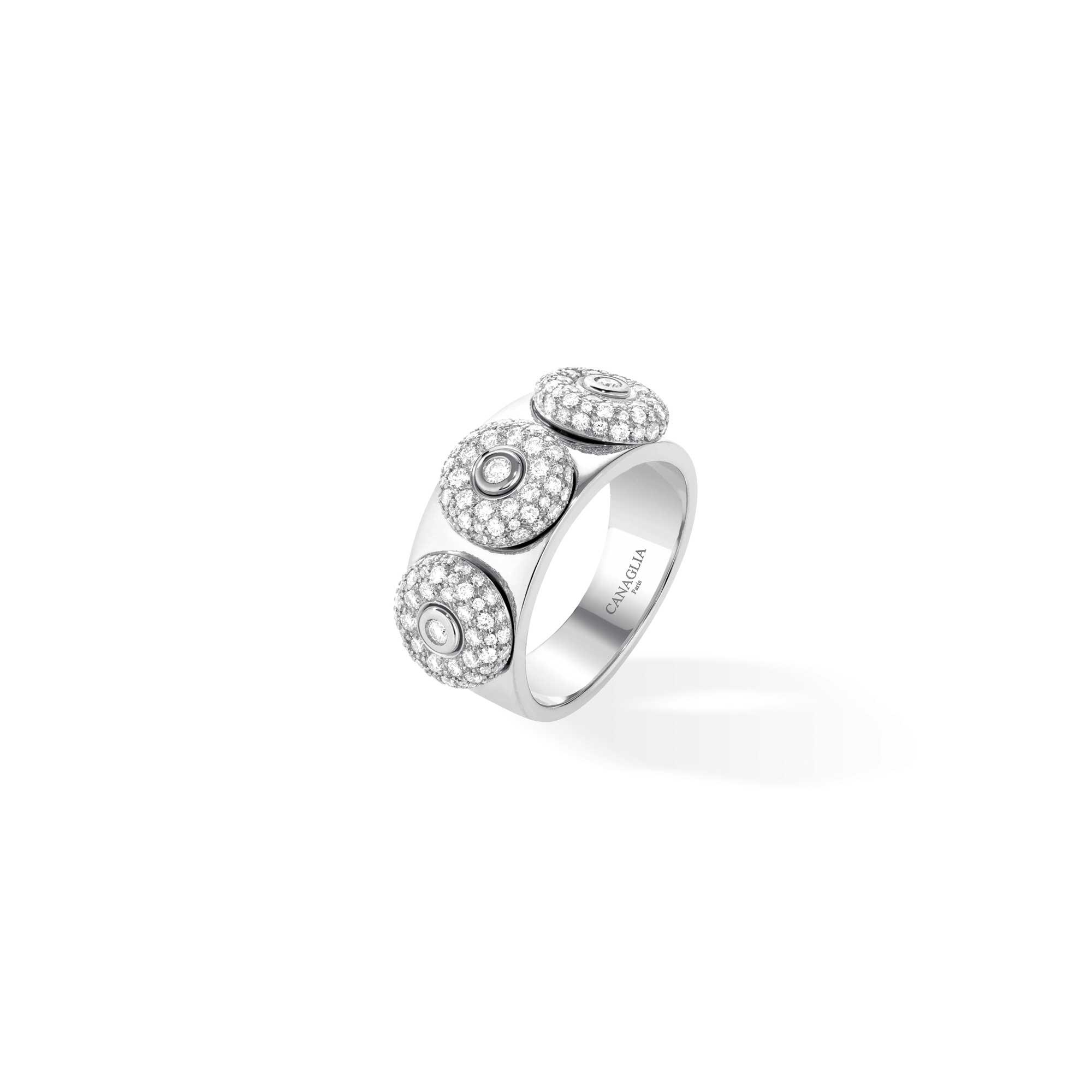 Bague jonc or gris, diamants 3 bouées - Joaillerie Canaglia Paris-Milan