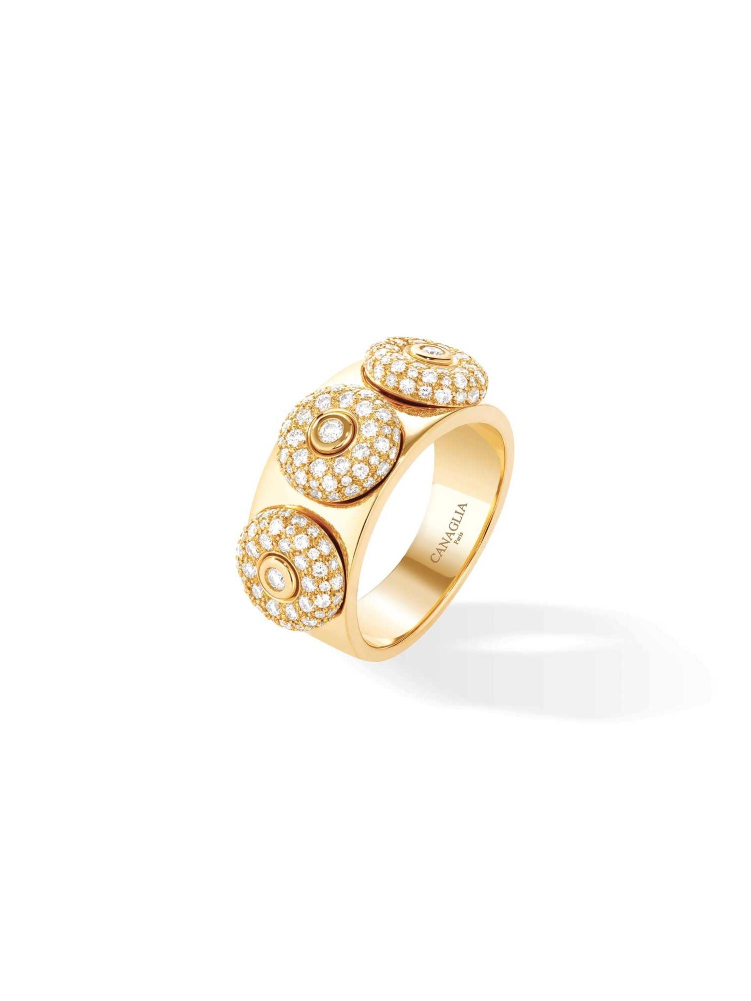 Bague jonc or jaune, diamants 3 bouées - Joaillerie Canaglia Paris-Milan