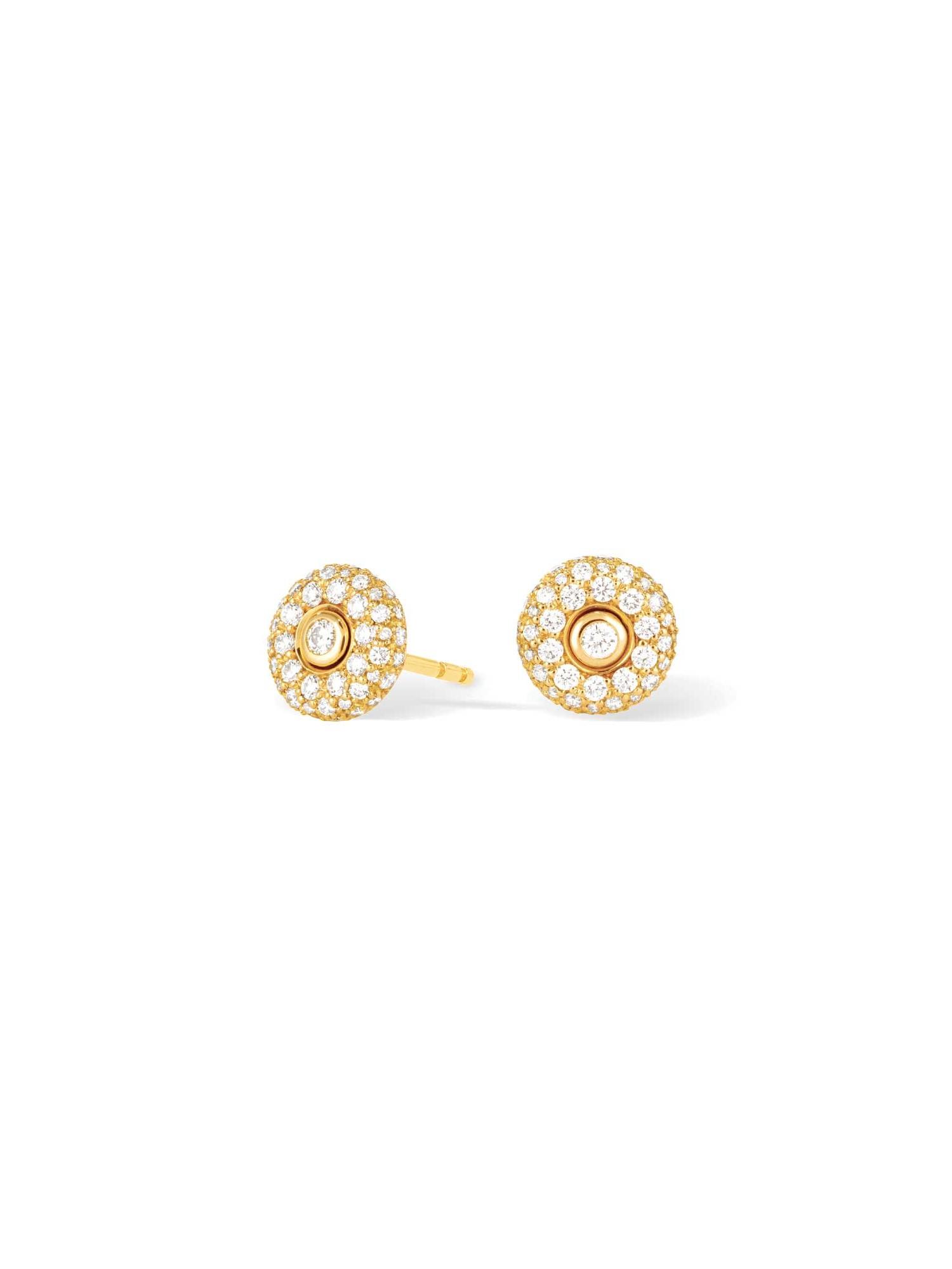 Boucles d'oreilles or jaune et diamants puces - Joaillerie Canaglia Paris-Milan