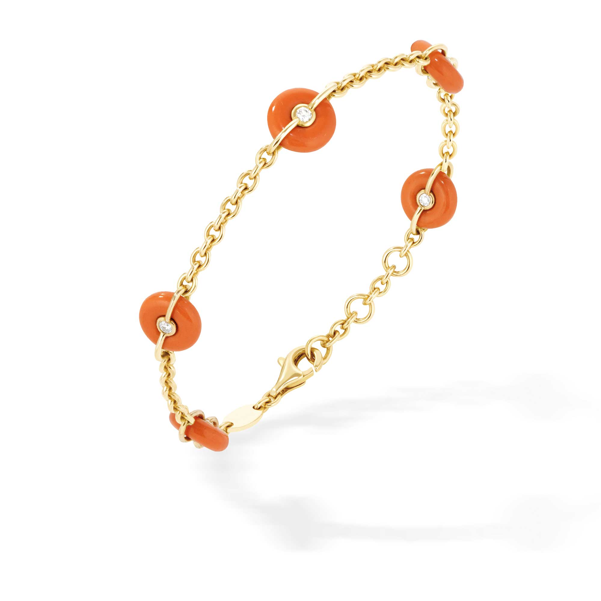 Yellow Gold Chain Bracelet & coral 5 buoys - Canaglia Paris-Milan Fine Jewelry